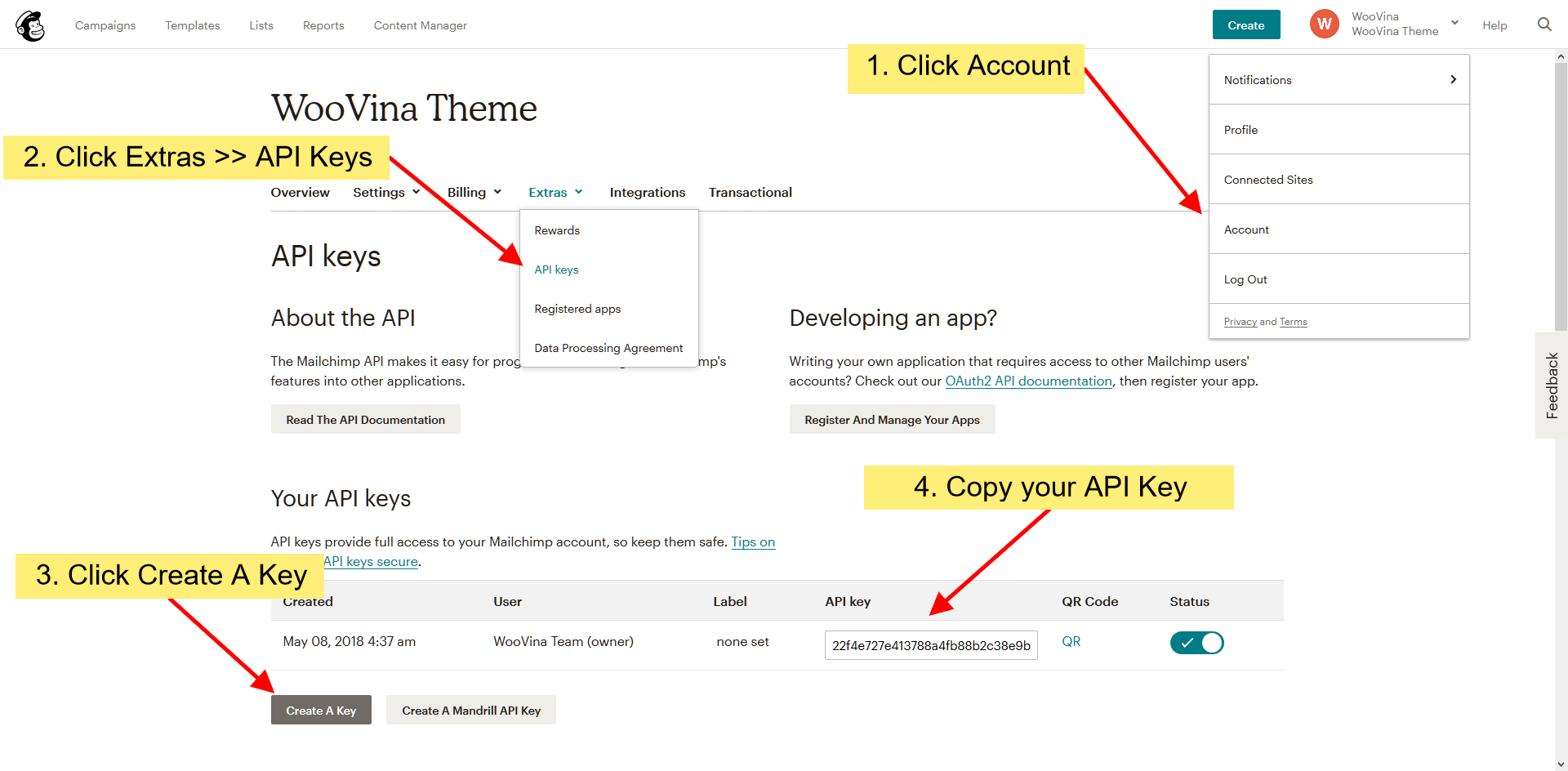 Get your MailChimp API Key and List ID